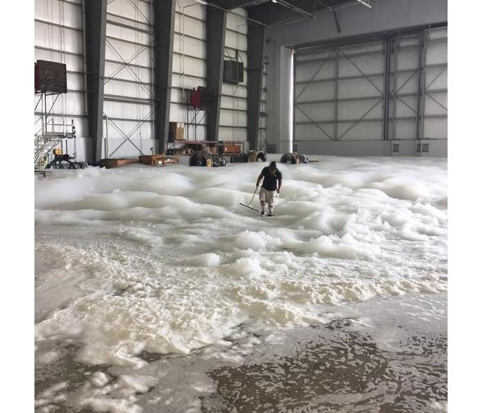 Commercial Airport Hanger Foam Suppression Cleanup and Restoration